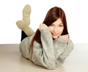 Beautiful smiling woman wearing warm clothing